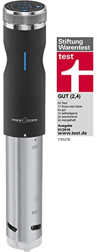 Profi Cook PC-SV 1126 Sous Vide Stick, Edelstahl, LED-Multifunktionsdisplay, Timer-Funktion, 800 W