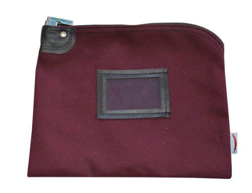 Locking Money Bag Canvas Keyed Security Burgundy
