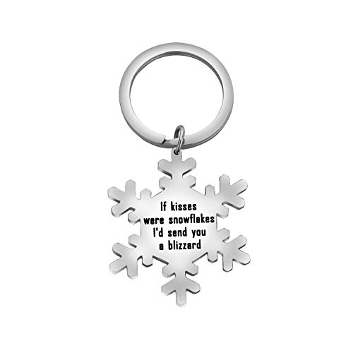 CHOORO If Kisses were Snowflakes I'd Send You a Blizzard Couples Keychain for Girlfriend/Wife (Kisses Snowflake Keychain)