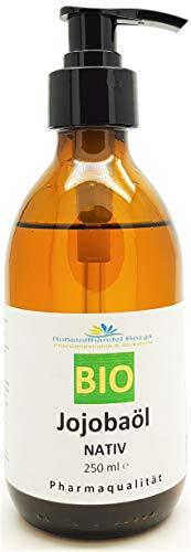 BIO Jojobaöl kaltgepresst NATIV 250 ml inkl. Dosierpumpe -Glasflasche- kbA Pharmaqualität Jojoba Öl