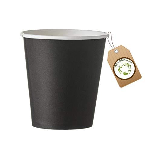 cubex professional ® Kit da 500 Bicchieri riciclabili in cartoncino Neri 75 ml (2,5 OZ) per caffè Acqua o Bevande Calde e Fredde