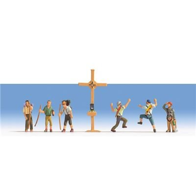 15874 - NOCH - Bergwanderer mit Gipfelkreuz, 6 Figuren + Kreuz