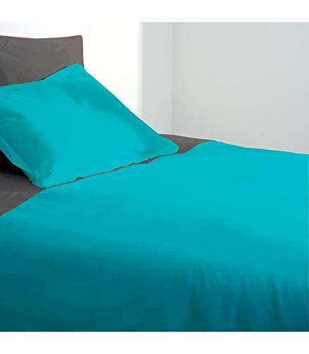Maison futée - Housse de couette 2 personnes 220x240 cm 100% Coton - Turquoise