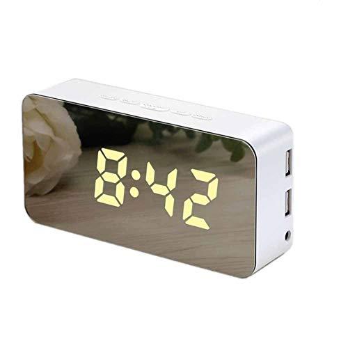 Uhr FANGQIAO SHOP Digital-Wecker-Spiegel-Alarm-LED-Anzeige mit Snooze-Zeittemperatur für Schlafzimmer, Büro-Batterie und USB-Stromversorgung (Color : White)