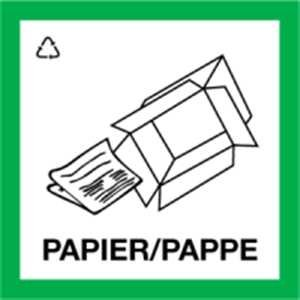 Aufkleber Wertstoffkennzeichnung PAPIER/PAPPE 30x30cm