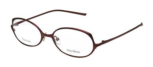 Vera Wang V107 Womens/Ladies Optical Fancy Designer Full-rim Titanium Eyeglasses/Eyeglass Frame (51-17-135, Dark Cinnabar)