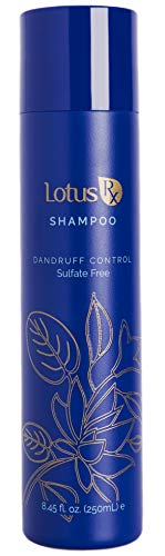 All Natural Anti Dandruff Shampoo by Lotus Rx | Sulfate Free | Includes Pyrithione Zinc and Organic Essential Oils | Helps with Psoriasis, Dry Scalp, is Safe for Color Treated Hair | 8.45 Ounces