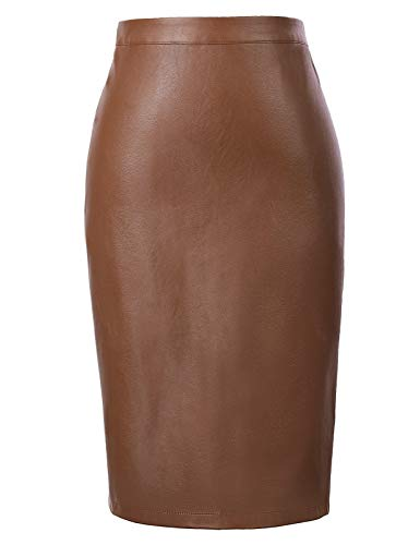 Women's Classic Faux Leather Bodycon Sexy Pencil Skirt Brown S KK601-5