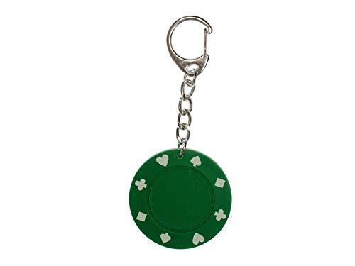 Miniblings jeton Vert Porte-clefs Poker Casino - Bijoux à la Mode Main I I Pendentif Trousseau de clés Porte-Clef