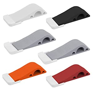 Wundermax Door Stoppers - Rubber Security Wedge for Bottom of Door on Carpet, Concrete, Tile, Linoleum & Wood - Heavy Duty Door Stop - Home Improvement - 6 Pack - Multicolored