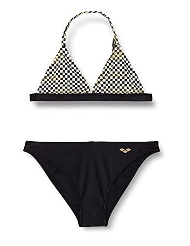 ARENA G Meryl Jr Triangle Two Pieces Bikini a Triangolo da Bambina, White Multi-Black, 10-11