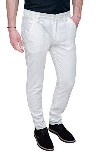 Evoga Pantaloni Uomo in Lino Classic Sartoriale Primavera Estate Formale ed Elegante (56, Bianco)