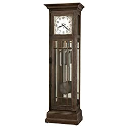 Howard Miller Davidson Grandfather Clock 611-264 – Distressed Aged Auburn, Grandfather Home Decor with Illuminated Case & Cable-Driven, Single-Chime Movement