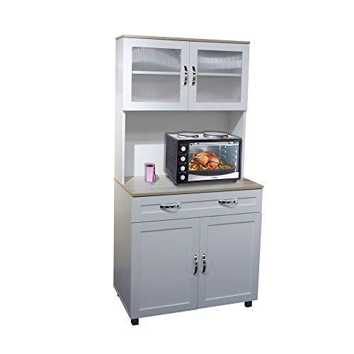 HTI-Line Küchenbuffet Blanca Küchenregal Küchenmöbel Mikrowellenschrank Buffetschrank Hochschrank