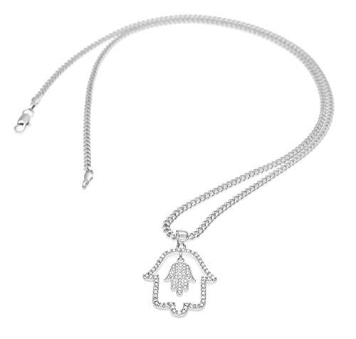 Hip Hop - Collar con colgante de mano de Fátima de acero inoxidable para hombre (oro/plata), 123, plata, Size