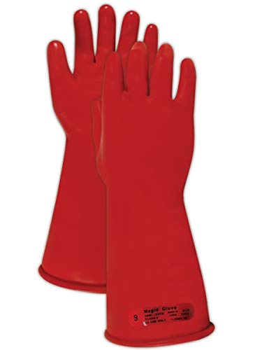 "Magid M011R A.R.C. Natural Rubber Latex Class 0 Insulating Glove with Straight Cuff, Work, 11"" Length, Size 9, Red (1 Pair)"