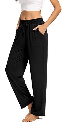 ARRIVE GUIDE Womens Yoga Sweatpants Comfy Lounge Pants with Pockets Wide Leg Drawstring Loose Workout Joggers Casual Pajama Pants Elastic Waist Black Plus Size 2XL