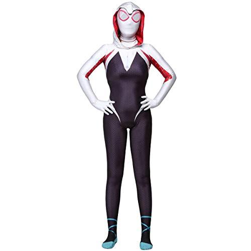 Disfraz de Spider-Gwen,Traje de Cosplay de Gwen Stacy,Mono de juego de rol de Spiderman para mujer, Fiesta de cosplay de Carnaval Navidad Halloween Traje de licra/Lycra con estampado 3D Zentai