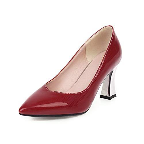 LESCHARMEURS – Natur Charme Luxus Pumps Silber High Heel Quadratisch Leder Damen Schuhe Herbst und Frühling für Bankett und Party, Rot - rot - Größe: 38 EU