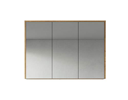 Spiegelschrank Cuba 100cm Eiche - Schrank Spiegelschrank Spiegel Badezimmer Badmöbel Set Hängeschrank Badschrank