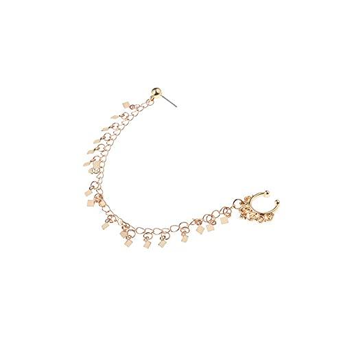 kangzhiyuan Cadena de nariz de moda india para fiestas, pendientes punk, cadena geométrica, borla falsa, joyería de nariz (color metálico: oro)