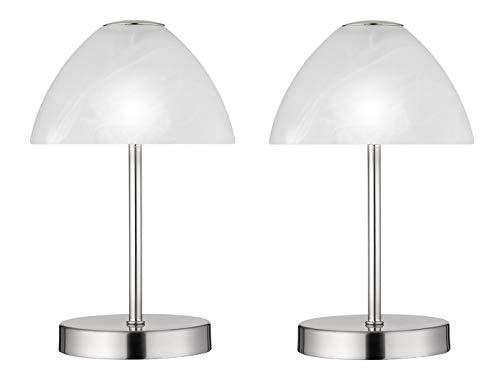 Dekorative LED Tischleuchten 2er SET - Metall 4-fach Touch Dimmer in Silber matt, 24cm hoch