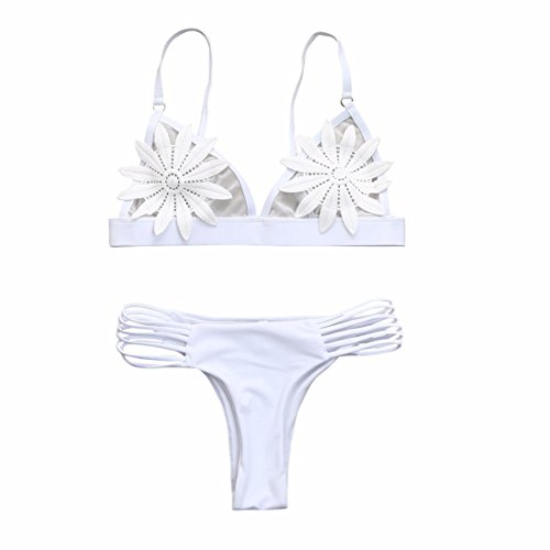 Kehen Women's Sexy Bikini Set Strap Side Bottom Halter Floral Hollow Bathing Suits Low Waist Bandage Beachwear Swimsuit (White, S (30A/30B/32AA/32A/32B))