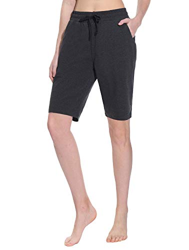 TAIBID Women's Active Lounge Bermuda Shorts Cotton Fitness Activewear Yoga Workout Running Shorts with Pockets, Charcoal - S
