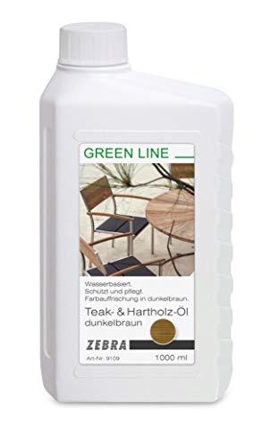 Zebra Teak- & Hartholz-Öl dunkelbraun 1000ml - Green Line Pflege für Gartenmöbel
