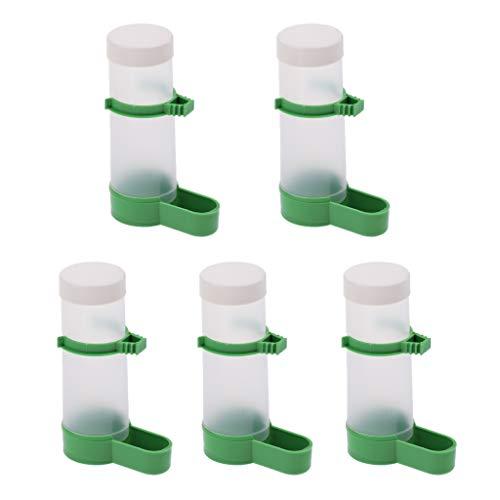 perfk 5 Stück Automatische Trinkflasche Wasserspender mit Klammer für Vogelkäfig
