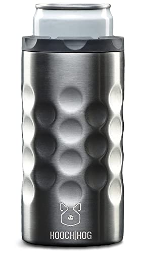 Hooch|Hog Slim Can Cooler Stainless Steel for 12 oz. Skinny Cans | 3x Insulated Beer Can Holder for Michelob Ultra, White Claw, Truly & Redbull (Stainless Steel)
