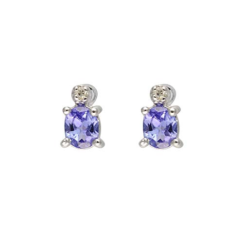 Ivy Gems 9ct Wit Goud Tanzanite en Diamant Petite Stud Oorbellen