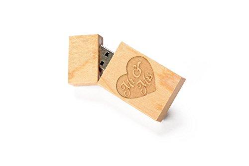 1 16GB USB 2.0 Wooden Maple Drive- Single Item - Grove Stick Body - Mr & Mrs Laser Engraved