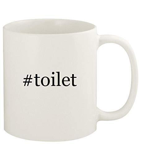 #toilet - 11oz Hashtag Ceramic White Coffee Mug Cup, White