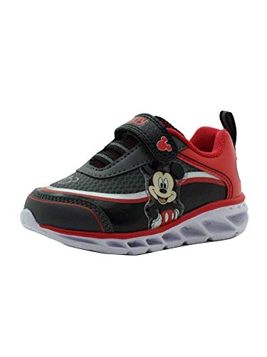 Amazon Essentials Kids' Disney Athletic Sneaker, Black/Red, 10 Medium US Toddler