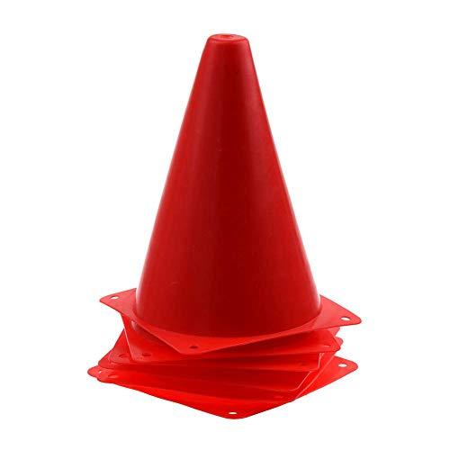 QINYUP 6 PCS-Multifunktionssicherheits Agility Kegel für Fußball-Fußball-Sportplatz Praxis Drill-Kennzeichnung - Rot