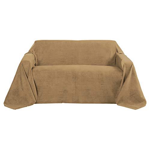 Beautissu Romantica Decke 210x280cm in Wildleder-Optik als Sofa-Überwurf Tagesdecke Plaid in Hell-Braun