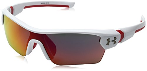 Under Armour Kids' Menace Wrap Sunglasses, SHINY WHITE WITH RED/GRAY WITH INFRARED MIRROR, 58 mm