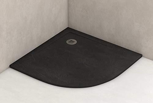 Plato ducha resina antideslizante textura pizarra Smooth Bricodomo 80x80 Semicircular Negro
