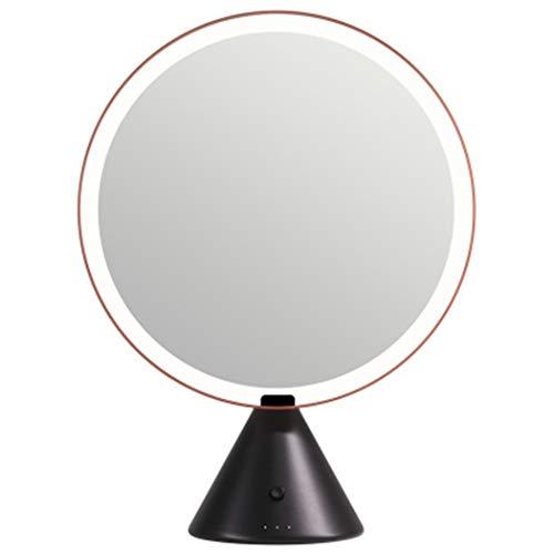 Intelligent Grand Round Bureau haute définition Maquillage Beauté, Led 3 couleurs Mode Lighting Fill Miroir de maquillage Lumière, Luminosité réglable en Dimming,Black orange