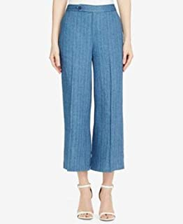 RALPH LAUREN Womens Blue Flare Pinstripe Cropped Wear To Work Pants US Size: 12