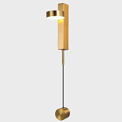 Aplique Pared Moderno y luminoso, iluminación minimalista nórdico creativa pasillo dormitorio cama escalera personalidad luz de la decoración de viento industrial lámpara de pared LED ( Color : Gold )