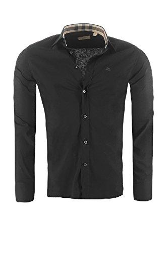 BURBERRY Herren Hemd BRIT Slim Fit, in verschiedenen Farben Outletware, Farbe:Schwarz, Größe:L