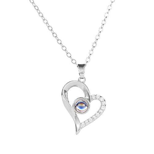 Halskette, Barlingrock Projektionsverzerrung Herzform Diamantanhänger Halskette 100 Sprachen Ich Liebe Dich für Frauen Speicher Projektionskette