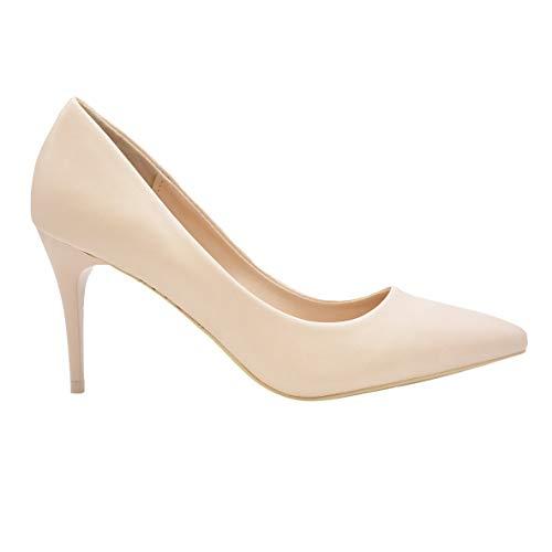 CucuFashion Nude Heels Smart Shoes Damen Hochzeit Heels Hot Pink Heels Low Heels Abendschuhe UK 36-42, Beige - Beige PU - Größe: 36 EU
