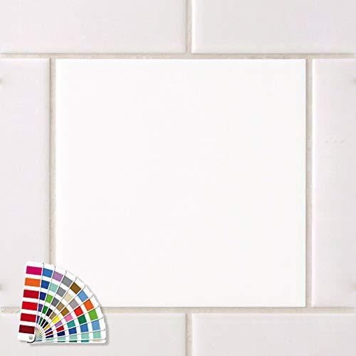 GRAZDesign Fliesenaufkleber 20x20cm weiß matt Bad/Küche einfarbig Fliesenfolie Klebefliesen Klebefolie auf Fliesen 1 x Farbmuster