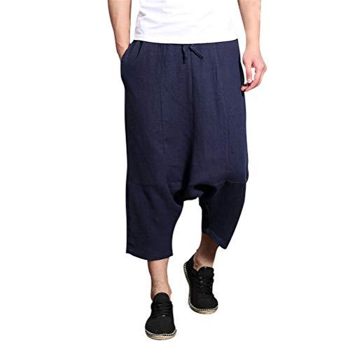Lannister Fashion Atmungsaktiv Leinen Casual Pants Herren Crotch Low Jogginghose Hippie Harem Festlich Bekleidung Hose Jugendliche Männer Nner Sommer (Color : Navy Blue, Size : Waist 34