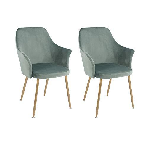 setsail 2er Set Samt Esszimmerstühle Küchenstuhl Polsterstuhl Wohnzimmerstuhl Sessel mit Armlehne, Sitzfläche aus Samt, Metall Gold Beine, Grün