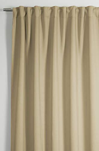 GARDINIA Vorhang mit integriertem Gardinenband, Verdunkelnd und blickdicht, Dimout, Natur, 140 x 245 cm