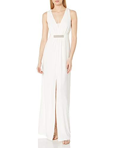 Halston Heritage Women's A-Line Embellished Jersey Gown, Chalk, 10